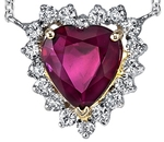 Classic Style Heart Diamond Halo Pendant With GIA Certified 2.0 carat Ruby Gemstone - Platinum & 14kt White Gold