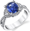 Chic Hand Crafted Bright Rich 1.57ct Blue Sapphire Split Shank Ring With Half Moon Side Gems & Diamond Accents - 18kt White Gold