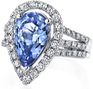 Exquisite Handmade Pear Shape Light Blue 5 carat Sapphire Triple-Shank 18kt White Gold Ring - 1.02ctw Diamond Accents