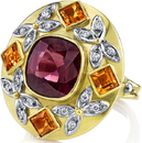 Unique Hand Crafted 18kt 2 Tone Gold Statement Ring With 5 carat Red Spinel & Step Cut Citrines - Diamond Accents