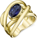 Interwoven Hand Crafted 4-Band 18kt Yellow Gold Ring With Bezel Set 2 carat Oval Blue Sapphire - SOLD