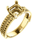 Split Shank Accented Ring Mounting for Asscher Shape Centergem Sized 5.00 mm to 7.00 mm - Customize Metal, Accents or Gem Type