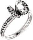 Accented Tulip Head Ring Mounting for Cushion Shape Centergem Sized 5.00 mm to 7.00 mm - Customize Metal, Accents or Gem Type