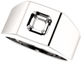 Square Face Solitaire Men's Ring Mounting for Asscher Shape Centergem Sized 5.00 mm to 7.00 mm - Customize Metal, Accents or Gem Type