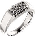3-Stone Accented Men's Ring Mounting for Asscher Shape Centergem Sized 2.00 mm to 6.00 mm - Customize Metal, Accents or Gem Type
