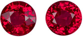 Earring Stud Rubies in Well Matched Round Cut Pair in Vivid Rich Red Color in 5.00 mm, 1.40 carats