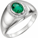 14K White Men's Chatham� Created Emerald & Diamond Accented Ring