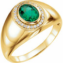 14K Yellow Men's Chatham� Created Emerald & Diamond Accented Ring