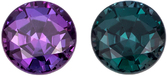 Engagement Alexandrite Round Cut Gemstone, 100% Color Change Rich Burgundy to Teal Blue Green, 4.2 mm, 0.43 carats