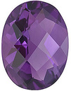 Loose Amethyst Gem, Oval Shape Checkerboard, Grade A, 7.00 x 5.00 mm Size, 0.65 Carats