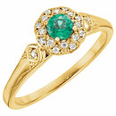 14KT Yellow Gold Emerald & 1/10 Carat Total Weight Diamond Ring