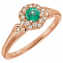 14KT Rose Gold Emerald & 1/10 Carat Total Weight Diamond Ring