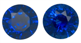Deep Velvety Blue Sapphire Pair Natural Gems for SALE, 6.3mm Round Cut, 2.60 carats