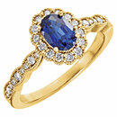 14K Yellow Chatham� Created Blue Sapphire & 1/3 CTW Diamond Ring