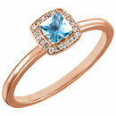 14KT Rose Gold Aquamarine & .05 Carat Total Weight Diamond Ring