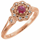 14KT Rose Gold Ruby & 1/10 Carat Total Weight Diamond Ring
