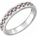 14KT White Gold 1.3 mm Ruby Stackable Ring