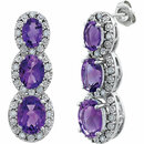 14KT White Gold Amethyst & .07 Carat Total Weight Diamond 3-Stone Earrings
