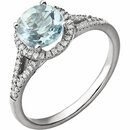 14KT White Gold Aquamarine & 1/5 Carat Total Weight Diamond Ring