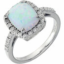14KT White Gold Created Opal & .07 Carat Total Weight Diamond Ring