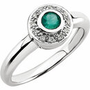 14KT White Gold Emerald & .06 Carat Total Weight Diamond Ring