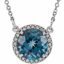 14KT White Gold London Blue Topaz & .05 Carat Total Weight Diamond 16