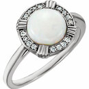 14KT White Gold Opal & .08 Carat Total Weight Diamond Ring