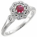 14KT White Gold Ruby & 1/10 Carat Total Weight Diamond Ring