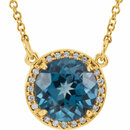 14KT Yellow Gold London Blue Topaz & .05 Carat Total Weight Diamond 16