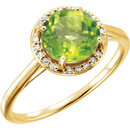 14KT Yellow Gold Peridot and .05Carat Total Weight Diamond Ring