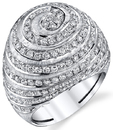 2.77ct tw Swirling Diamond Mound Ring in 18kt White Gold - 208 Diamonds Super BLING and Fun