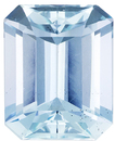 Calibrated Aquamarine Loose Gem in Emerald Cut, Rich Pure Blue, 9.9 x 8.1 mm, 3.00 carats