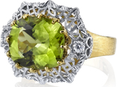 Distinct 2-Tone Hand Crafted 18kt Gold 5.70ct Oval Peridot Gemstone Ring With Diamond Accents