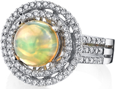Elegant 2 carat Crystal Fine Ethiopian Opal Ring in 18kt White Gold - 0.86ctw Diamond Accents