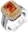 Exceptional 18kt Tri-Color Metal Blazing 3 carat Orange Sapphire Split Shank Ring With Diamond Accents