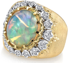 Heavy Bold Hand Carved Satin Gold 4.8ct Lightning Ridge Crystal Opal Ring With Diamond Accents in 18kt Yellow Gold
