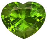 Magnificent Natural Peridot Gemstone for SALE - Vivid Green Chartreuse, Heart Shape, 5.32 carats