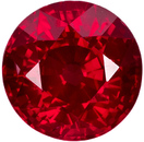 Special Round Fiery Ruby Loose Gem in Open Rich Red Color in 6.5 mm, 1.64 carats