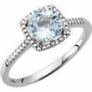 Sterling Silver Aquamarine & .01 Carat Total Weight Diamond Ring