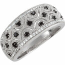 Sterling Silver Black Spinel & 1/8 Carat Total Weight Diamond Ring Size 6