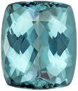 Stunning Blue Tourmaline Cushion Cut Gem in Gorgeous Sea Foam Teal Blue Color, 12 x 10.4 mm, 6.99 carats