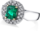 Stunning Classic 2.05 carat Emerald & Diamond Ring With Pave 0.58 carats Diamond Accents - 18kt White & Yellow Gold