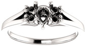 Pear Ring Mounting With 4 Side Accents - Shape Centergems Sized 6.00 x 4.00 mm to 12.00 x 8.00 mm - Customize Metal, Accents or Gem Type