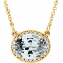 14KT Yellow Gold White Topaz & .05 Carat Total Weight Diamond 16.5