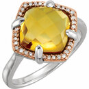 Sterling Silver Rose Gold Plated Citrine & 1/8 Carat Total Weight Diamond Ring Size 6