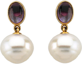14KT Yellow Gold 8x6mm Amethyst & 12mm South Sea Cultured Pearl Earrings