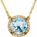 14KT Yellow Gold Sky Blue Topaz & .05 Carat Total Weight Diamond 16