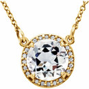 14KT Yellow Gold White Topaz & .05 Carat Total Weight Diamond 16