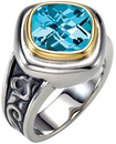 Sterling Silver & 14KT Yellow Gold 10mm Checkerboard Sky Blue Topaz Ring