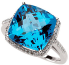 14KT White Gold Swiss Blue Topaz & 1/4 Carat Total Weight Diamond Ring
